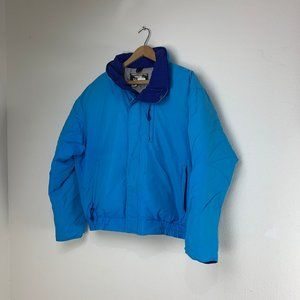 Teal Blue Down Coat Made in USA LL Bean Size Med